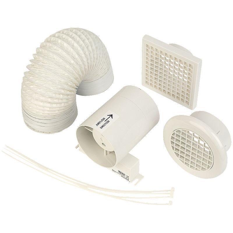Shop manrose sf100t w 20w in line shower fan kit for Bathroom extractor fan kit