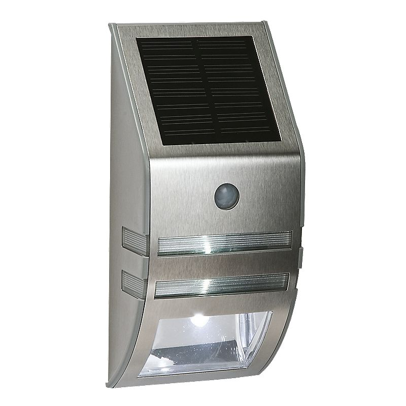 Patio Lights Screwfix: LAP Solar Powered LED Bulkhead With PIR & Photocell Silver
