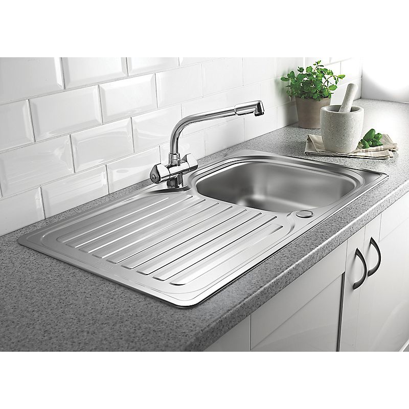 Franke 1 Bowl Kitchen Sink With Tap Drainer Stainless Steel 860 X 500mm