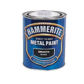 Hammerite Smooth Metal Paint Black 750ml Metal Paints