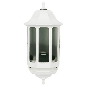 Screwfix Outdoor Wall Lights : ASD 60W White Slave Half Lantern Wall Light Outdoor Wall Lights Screwfix.com