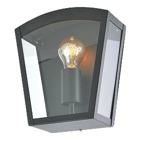 Zinc Artemis Black Metal Framed Curved Top Lantern 60W Outdoor Wall Lights Screwfix.com