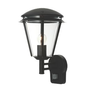 Antler Matt Black Wall Light with PIR 60W Outdoor Wall Lights Screwfix.com