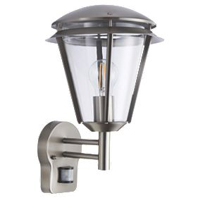 Antler Brushed S/Steel Wall Light with PIR 60W Outdoor Wall Lights Screwfix.com