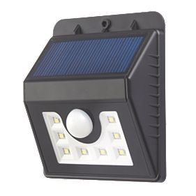 Draco LED Solar Wall Light with PIR Matt Black Solar Garden Lights Screwfix.com