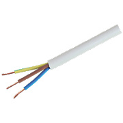 Tower 3183Y 3-Core Round Flexible Cable 1mm x 1m White
