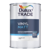 Dulux Trade Vinyl Matt Emulsion Paint Pure Brilliant White 5Ltr