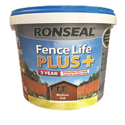 Ronseal Fence Life Plus Shed & Fence Treatment Medium Oak 9Ltr