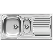 Pyramis Aurora Kitchen Sink S/Steel 1½ Bowl Reversible Drainer 1000 x 165mm