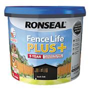Ronseal Fence Life Plus Shed & Fence Treatment Dark Oak 9Ltr