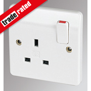 MK 13A 1-Gang DP Switched Plug Socket White