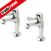 H & C Lever Pillar Kitchen Taps Pair