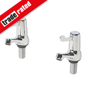 H & C ¼ Turn Bathroom Basin Taps Pair