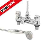 Swirl Contract Metal Head Bath Shower Mixer Tap Chrome
