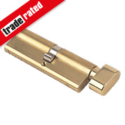 Yale 6-Pin Euro Cylinder Thumbturn Lock 45-50 (95mm) Polished Brass