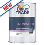 Dulux Trade Satinwood Gloss Paint Pure Brilliant White 1Ltr