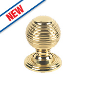 Fingertip Design Queen Anne Cabinet Door Knob Polished Brass 28mm