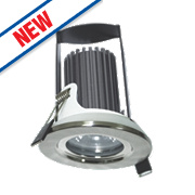 Luceco Fire Rated Fixed Integrated LED Downlight IP65 Brushed Steel 5.5W