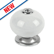 Traditional Ceramic Cabinet Door Knobs Chrome & White 42mm Pack of 2