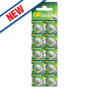 GP Batteries Alkaline Coin Cell Batteries LR44 Pack of 10