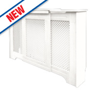 Victorian Adjustable Radiator Cabinet White 970-1420 x 235 x 936mm