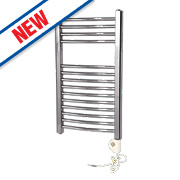 Flomasta Curved Thermostatic Towel Radiator Chrome 700 x 400mm 184W 627Btu