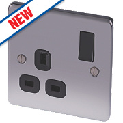 LAP 13A 1-Gang SP Switched Plug Socket Black Nickel