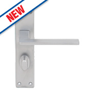 Serozzetta Zone LoB Bathroom Door Handles Pair Satin Chrome