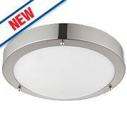 Saxby Portico LED Bathroom Ceiling Light Satin Nickel 9W
