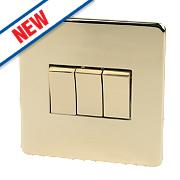 Crabtree 3-Gang 2-Way 10AX Switch Polished Brass Flat Plate