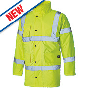 """Dickies Hi-Vis Motorway Safety Jacket Saturn Yellow Small 38"""" Chest"""
