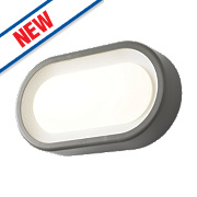 Zinc Miranda LED Oval Bulkhead Anthracite Grey 13W
