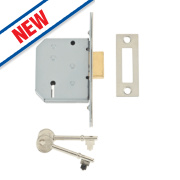Union 3-Lever Mortice Deadlock Satin Chrome 2½