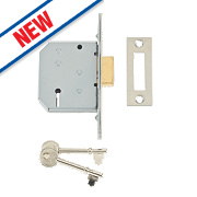 "Union 3-Lever Mortice Deadlock Satin Chrome 2½"" / 65mm"