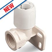 "Hep2O Push-Fit Wall Plate Elbow Black 15mm x ½"""