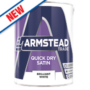 Armstead Trade Quick Dry Satinwood Paint Pure Brilliant White 2.5Ltr