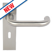 Eurospec Saftey Lever on Backplate Lock Pair Satin Stainless Steel