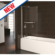 Aqualux Stepped Radius Bath Screen Semi-Framed Polished Silver 820 x 1500mm