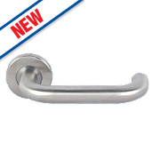 Eurospec Safety Lever on Rose Pair Satin Stainless Steel