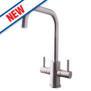 Swirl Divine Double Lever Mono Mixer Kitchen Tap Silk Steel