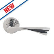 Jedo Twist Lever on Rose Door Handle Pack Pair Polished Chrome