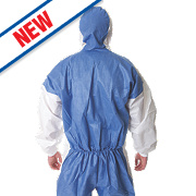 "3M 4535 Type 5/6 Disposable Coverall Blue/White Lge/X Lge 42-46"" Chest"
