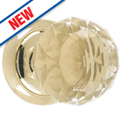 Dempsey & Locke Unsprung Glass Mortice Knobs Pair Brass 65mm