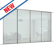 Spacepro 4 Door Framed Glass Sliding Wardrobe Doors White Glass 2998 x 2260mm