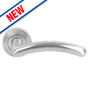 Smith & Locke Milano Lever on Rose Door Handles Pair Satin Chrome