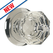 Carlisle Brass Glass Mortice Knob Pair Polished Chrome 60mm