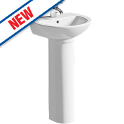 Grove Full Pedestal Cloakroom Basin 2 Tap Holes 450mm