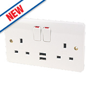 MK 13A 2-Gang Double Pole Switched Socket & 2.1A USB Charger White