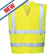 """Portwest Hi-Vis Flame Retardant Vest Yellow XX Large / XXX Large 55"""" Chest"""