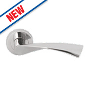 Serozzetta Breeze Lever on Rose Door Handles Pair Polished Chrome
